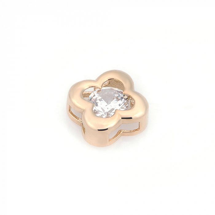 Золотое колье на леске Клевер с цирконием 000082436