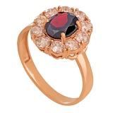 Золотое кольцо с гранатом и фианитами Иветта