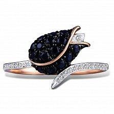 Кольцо из красного золота Тюльпан с бриллиантами и сапфирами