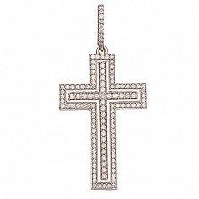Декоративный крестик с белым цирконием Итальянский