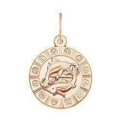 Золотой кулон Знак Зодиака Рыбы в красном цвете 000119540