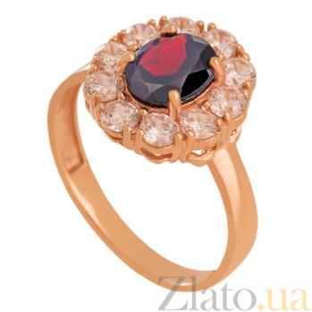 Золотое кольцо с гранатом и фианитами Иветта VLN--112-1750-3