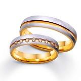 Золотое обручальное кольцо Париж с цирконием