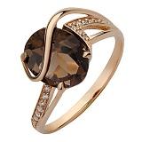 Золотое кольцо Килия с дымчатым кварцем и фианитами