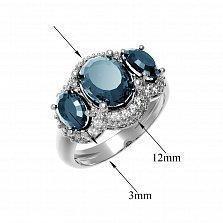 Серебряное кольцо Аврора с лондон топазом и фианитами