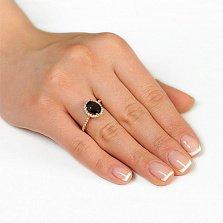 Золотое кольцо Альда с раухтопазом и фианитами
