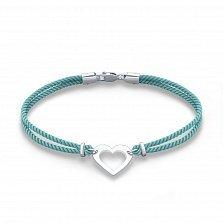 Браслет из серебра Романс с голубой шелковой нитью