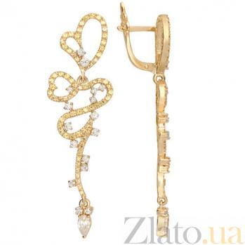 Золотые серьги с фианитами Сальма VLT--ТТ2325