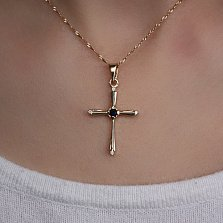 Золотой крестик с сапфиром и бриллиантами Синие дали