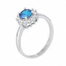 Серебряное кольцо с ярко-голубым фианитом Джахуар