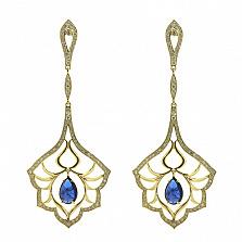 Золотые серьги с бриллиантами и танзанитами Loveliness