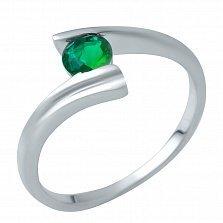Серебряное кольцо Алисия с синтезированным изумрудом