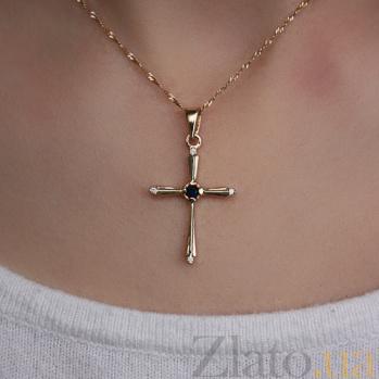 Золотой крестик с сапфиром и бриллиантами Синие дали VLA--33981