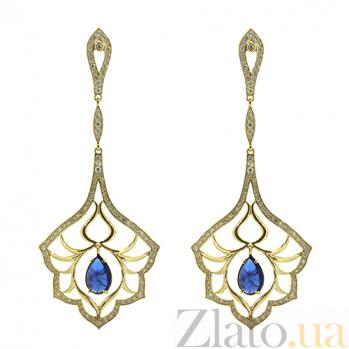 Золотые серьги с бриллиантами и танзанитами Loveliness ZMX--EDTz-00125y