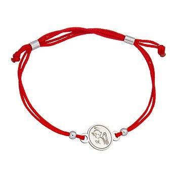 Шелковый браслет Ангелочек с серебряной вставкой 000017547