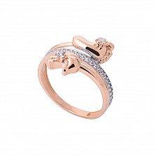 Золотое кольцо Мамино счастье с фианитами