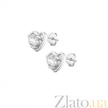 Серебряные серьги-гвоздики с фианитами С любовью SLX--С2Ф/481