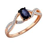 Золотое кольцо с сапфиром и бриллиантами Беверли