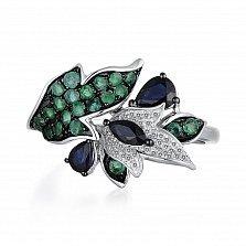 Золотое кольцо с сапфирами, изумрудами и бриллиантами Лилия