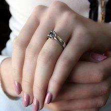 Золотое кольцо Ассоль в белом цвете с сапфиром