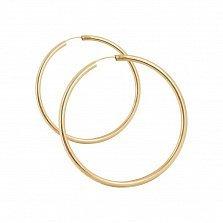 Золотые серьги-кольца Олимп в красном цвете
