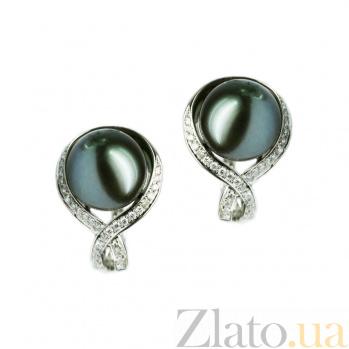 Золотые серьги с жемчугом и бриллиантами Пальмира 1С193-0031