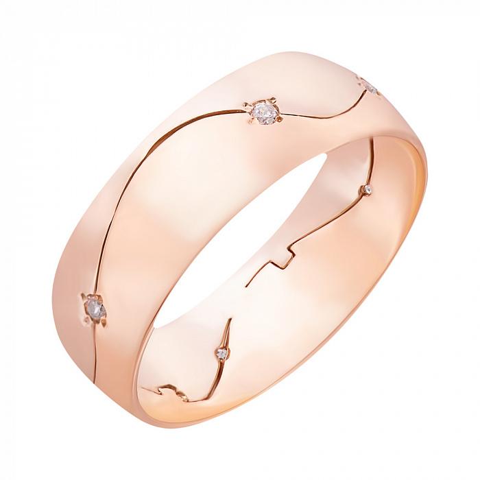 Обручальное кольцо Миледи в комбинированном золоте с фианитами 3521580