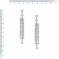 Серебряные серьги-подвески Марика с белыми фианитами