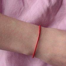 Плетенный красный браслет Мильн с серебряной застежкой