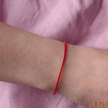 Плетенный красный браслет Мильн с серебряной застежкой 000050706