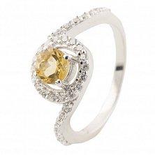Серебряное кольцо Моника с цитрином и фианитами