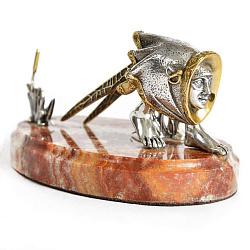 Серебряная визитница с позолотой на мраморной подставке 000004194