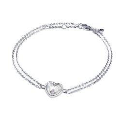 Серебряный двойной браслет Сердце малое с плавающим синтезированным опалом, 8x8мм