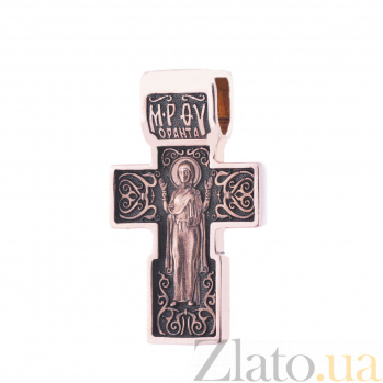 Золотой крест с чернением Заповедь ONX--п01825