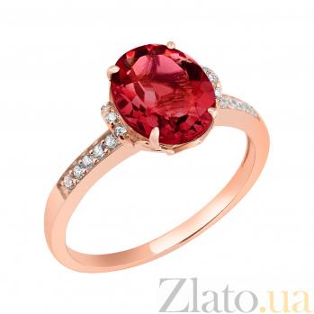 Кольцо в красном золоте Оксана с гранатом и фианитами 000044914