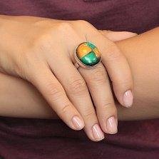Серебряное кольцо Диаграмма с желто-зеленой имитацией опала