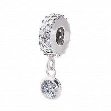 Серебряный шарм с подвеской Контраст с кристаллами циркония