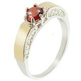 Серебряное кольцо с золотой вставкой и цирконием Эйфория