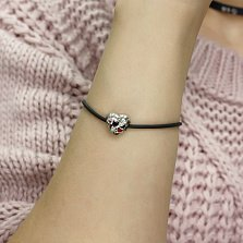 Серебряный шарм-сердце Меткая стрела с розовыми и белыми фианитами и красной эмалью