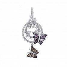 Серебряный кулон Летние бабочки с усыпкой из розовых фианитов, белых и цвета шампань