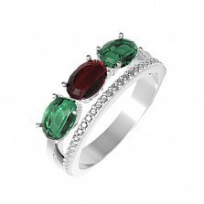 Серебряное кольцо Мальнея с гранатом, зеленым кварцем и фианитами