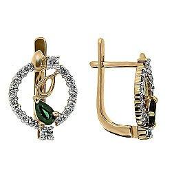 Золотые серьги Диана с изумрудами и бриллиантами