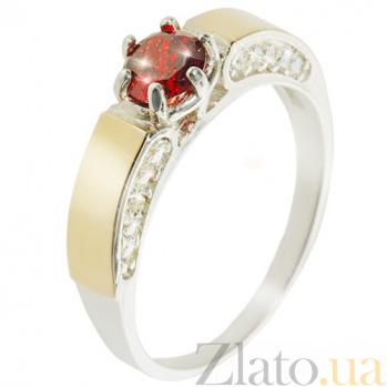 Серебряное кольцо с золотой вставкой и цирконием Эйфория BGS--459к