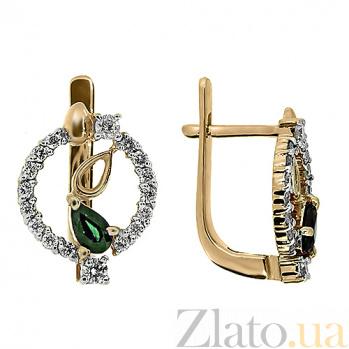 Золотые серьги Диана с изумрудами и бриллиантами ZMX--EDE-5597_K