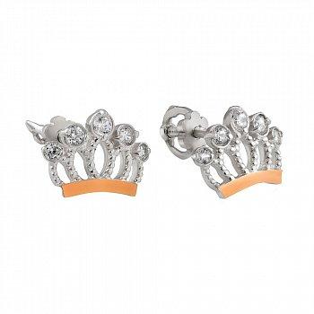 Серебряные серьги-пуссеты с коронами, золотыми накладками и фианитами 000116034