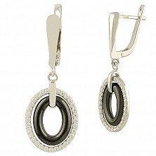 Серебряные серьги-подвески Валерия с черной керамикой и фианитами