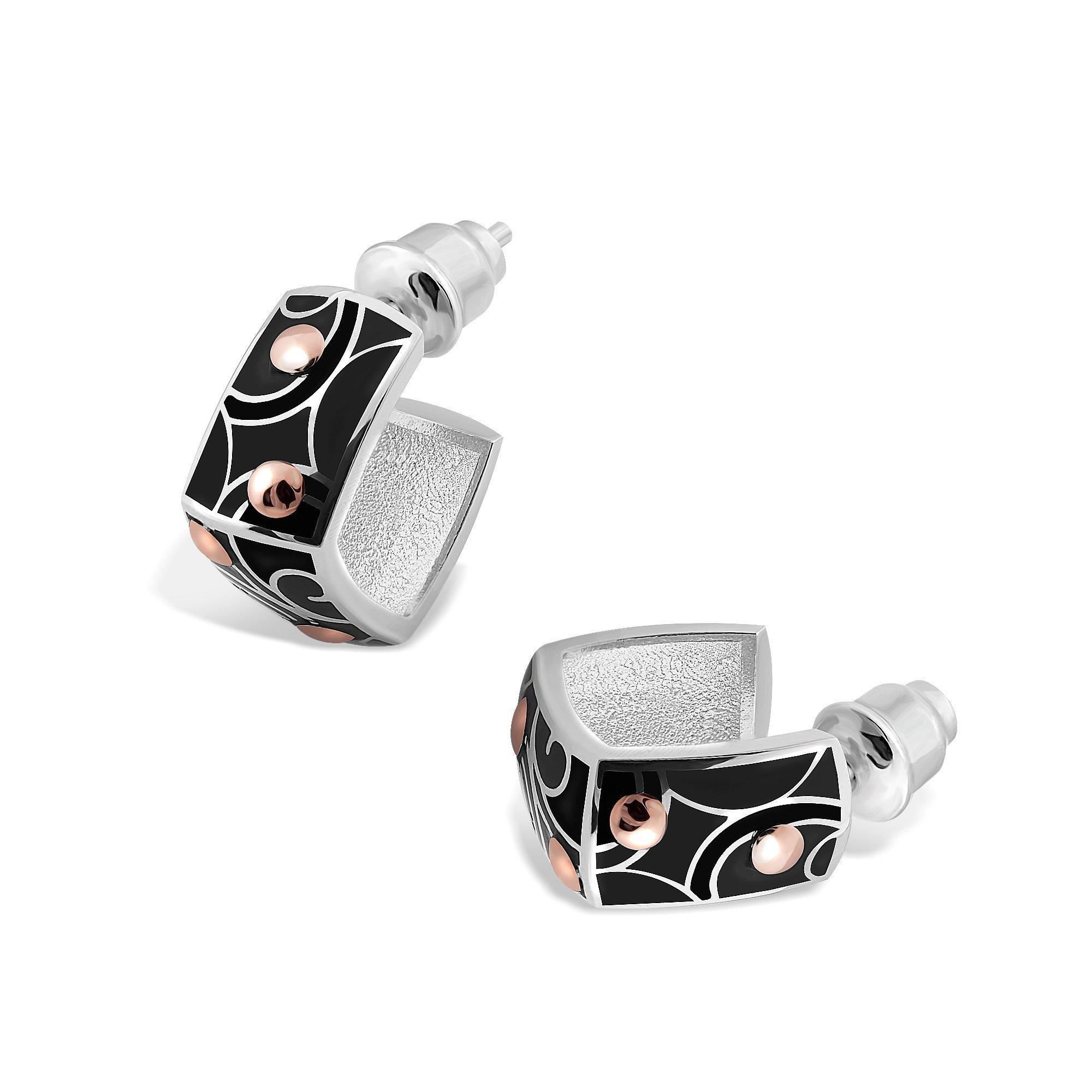Серебряные серьги-пуссеты Агнесса с золотыми накладками и черной эмалью
