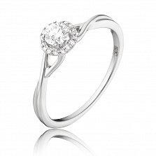 Золотое кольцо Эйрия в белом цвете с бриллиантами