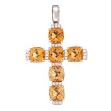 Золотой крест Сильвия с цитринами и бриллиантами