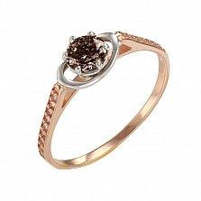 Золотое кольцо Фиона с раухтопазом и фианитами